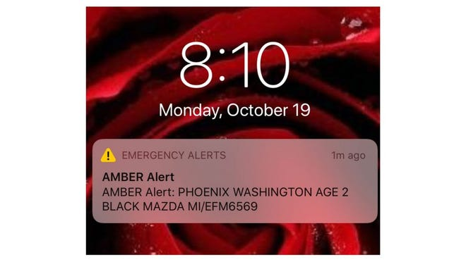 Screen image of Amber alert message to a phone