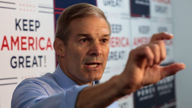 U.S. Rep. Jim Jordan, R-Urbana, speaks to members of the media before the Trump Victory Headquarters grand opening on Thursday, Aug. 20, 2020, in Westerville.