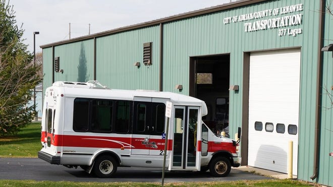 An Adrian Dial-a-Ride bus is pictured Nov. 14 outside the city of Adrian and Lenawee County transportation garage in Adrian. An upcoming virtual meeting will discuss Lenawee County's transportation services and how to they can be improved.