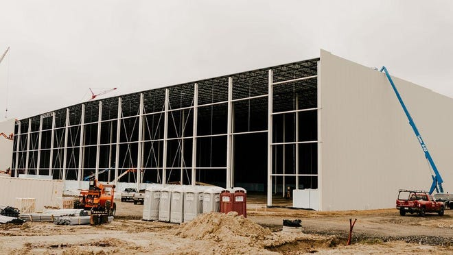 Progress continues on a 150,000-square-foot cold storage distribution center at Hudsonville Ice Cream in Holland. An additional 40,000-square-foot expansion of manufacturing space will be constructed this year with assistance from a New Market Tax Credit from Michigan Community Capital.