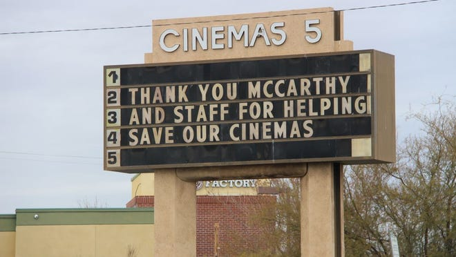 Ridgecrest Cinemas thanks Congressman Kevin McCarthy for supporting the COVID-19 package that included the Save our Stages Act in this photo taken Wednesday. The National Association of Theater Owners collectively decided to use their marquees to thank local reps after the package passed, according to Manager Kelly Walden. Ridgecrest Cinemas has not received any funds yet, but the act will definitely help the theater stay in business, Walden said.