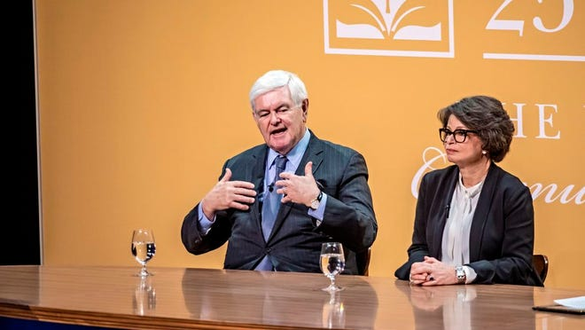 Newt Gingrich and Valerie Jarrett in the last in-person New Albany Lecture Series event of 2020