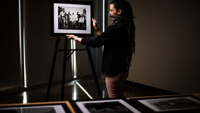 Shawna Witherspoon, a 2019 graduate of PSU now employed at the Bicknell Family Center for the Arts, curated an exhibit that opened there on Monday in honor of Black History Month. Funded by a grant and including a public engagement component, it was inspired by conversations with her children.