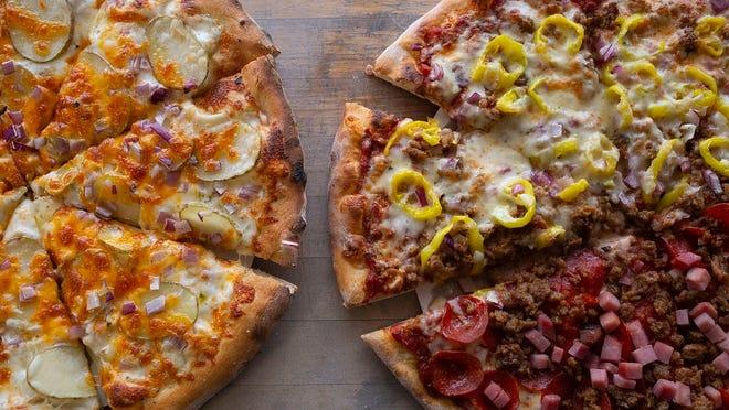 Potato Foccacia pizza and half Autumn Swoon, half Pigskin pizza from Tyler's Pizzeria & Bakery on Main Street in Reynoldsburg.
