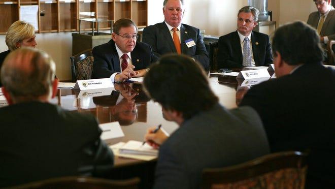 U.S. Sen. Robert Menendez speaks at a meeting between the congressional delegation and Gov. Chris Christie on Nov. 18, 2012 at the Statehouse. (Governor's Office/Tim Larsen)