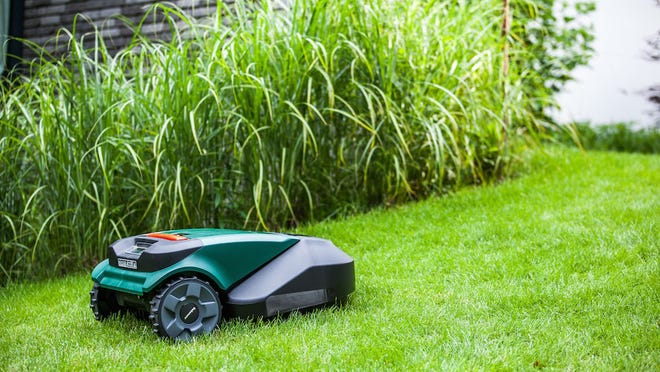A Robomow robotic mower trims your lawn while you nap in the sun.