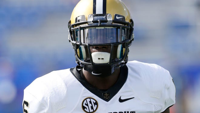 Vanderbilt Commodores defensive back Darrius Sims warms up before the game against Kentucky. Sims scored Vanderbilt's only TD on the day on a 13-yard interception return.