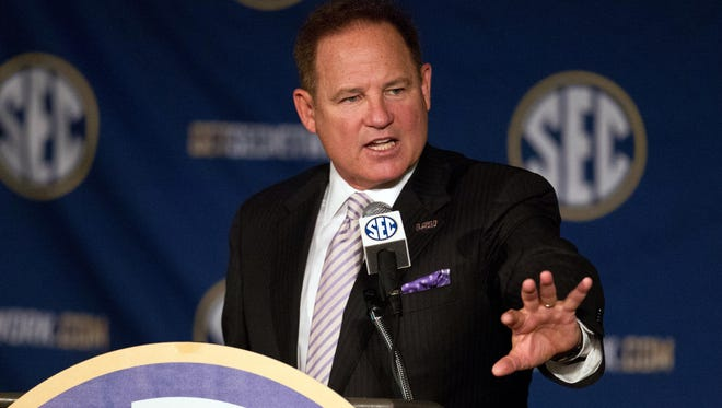 LSU Tigers head coach Les Miles talks to the media during the SEC Football Media Days at the Wynfrey Hotel.