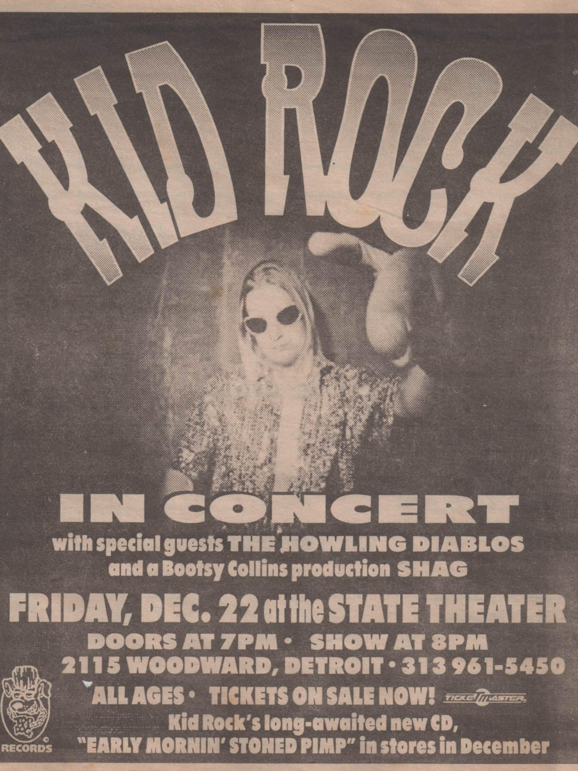 A 1996 concert poster for a Kid Rock show at the State