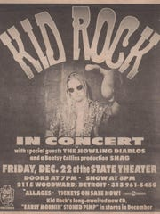 A 1996 concert poster for a Kid Rock show at the State Theatre.
