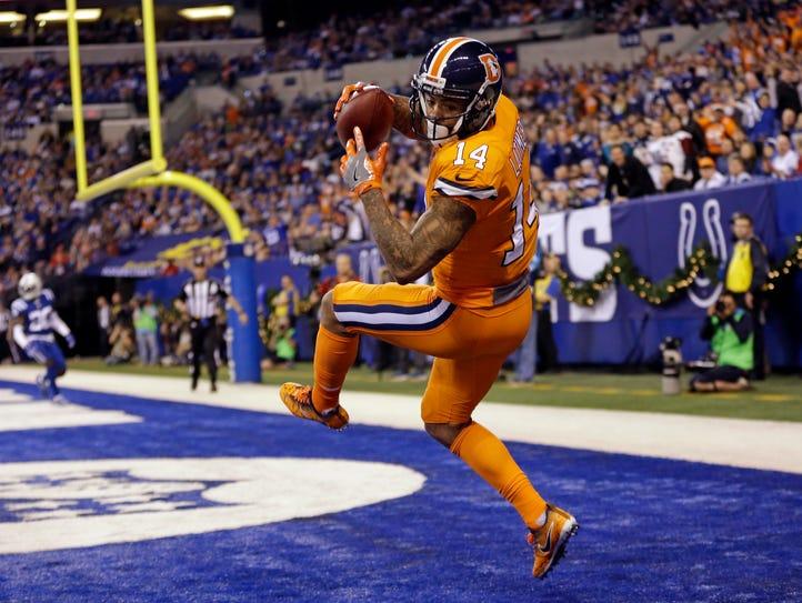 Denver Broncos wide receiver Cody Latimer (14) makes
