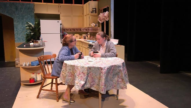 """Actors Sarah Rudolph as Mother (Left) and Kate Kierzkowski as Jessie in """"'Night Mother."""""""