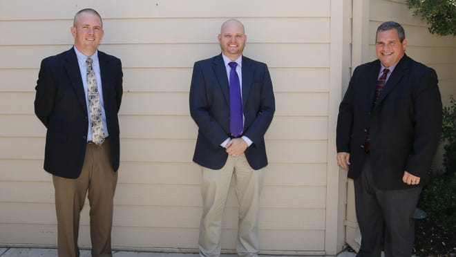 From left, superintendents Dr. Josh Martin of Bangs, Dr. Dewayne Wilkins of Early and Dr. Joe Young of Brownwood are pictured outside the Brownwood Country Club Friday.
