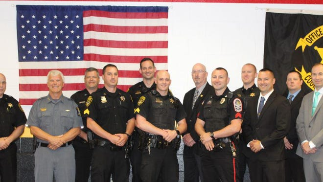 Those who completed include left to right front row: Undersheriff John McNelis (Steuben County), Chief Scott Richardson (SUNY Alfred), Sergeant Chad Daggett (Yates County), Sergeant Brandon Scott (Steuben County), Sergeant Mark Ahearn (Canisteo Police Department), Investigator Christopher Kennedy (Steuben County), Investigator Shawn Whitford (Livingston County) Back row: OIC Shawn Copp (Painted Post Police Department), Corporal Joshua Day (Steuben County), Investigator Walt Mackney (Steuben County District Attorney), Corporal Andrew Hawk (Steuben County) and Investigator Brandon Brown (Steuben County)