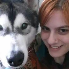Amy Kaplan and her service dog, Zero.