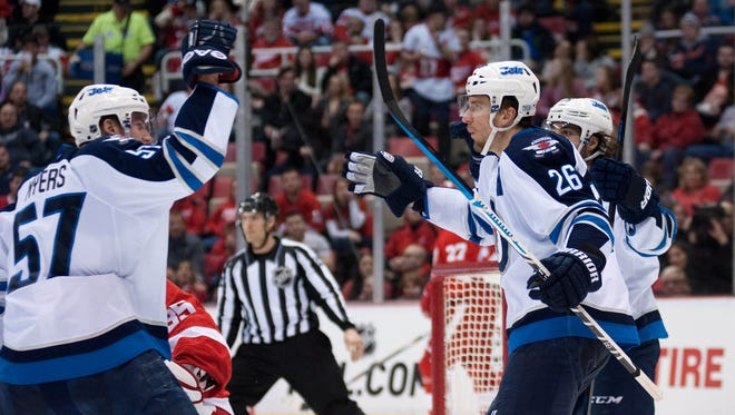 Winnipeg Jets right wing Blake Wheeler celebrates his goal during the second period.