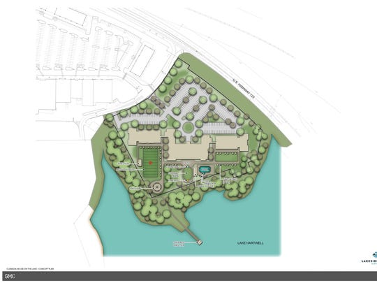 An illustration shows where Lakeside Lodge Clemson will be built in 2019. More than 100 condominiums will be built across the lake from Clemson University as part of the Lakeside Lodge Clemson project.