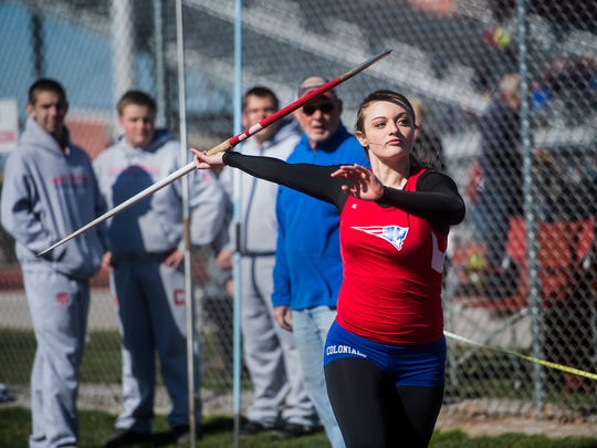 New Oxford's Madi Smith competes in the javelin event during the Dallastown-New Oxford track and field meet hosted by New Oxford on March 29, 2016.