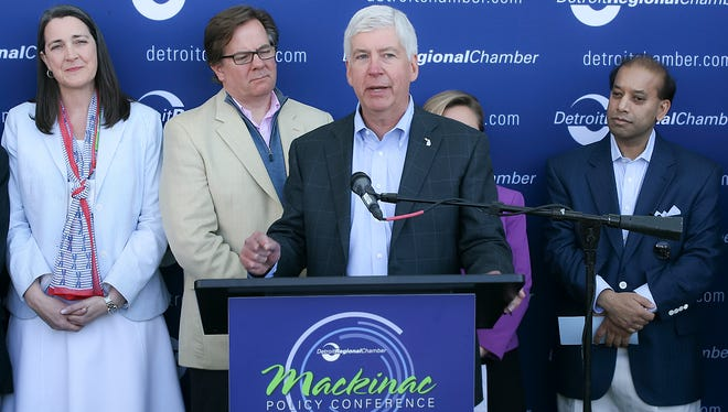 Gov. Rick Snyder announced an $8 million mobility initiative Wednesday, May 30, 2018, at the Mackinac Policy Conference.