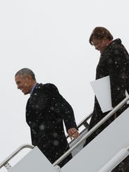 President Obama and Brenda Lawrence at Detroit Metropolitan