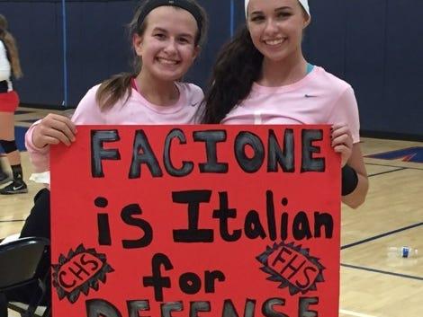 Pictured are Bella Facione and her cousin Alyssa Facione following Wednesday's match at Franklin.