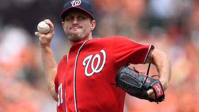 Washington Nationals starting pitcher Max Scherzer (31) pitches during the second inning against the Baltimore Orioles at Oriole Park at Camden Yards.