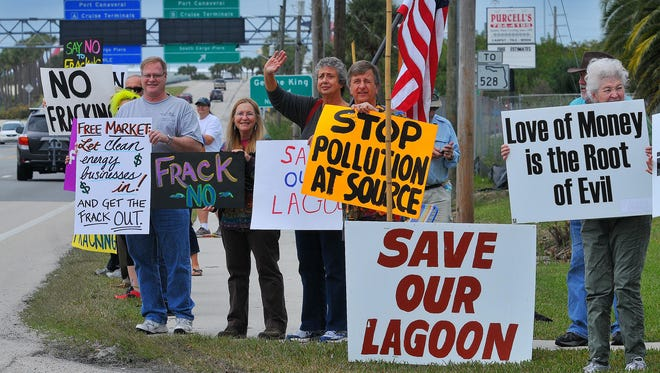 A group of about 60 protesters held a rally against fracking on Jan. 31 in Cape Canaveral.