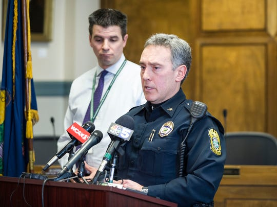Montpelier Police Chief Tony Facos addresses the media Tuesday, Jan. 16, 2018, at a city hall news conference following an armed robbery and police pursuit that ultimately ended in the suspect's death at Montpelier High School.