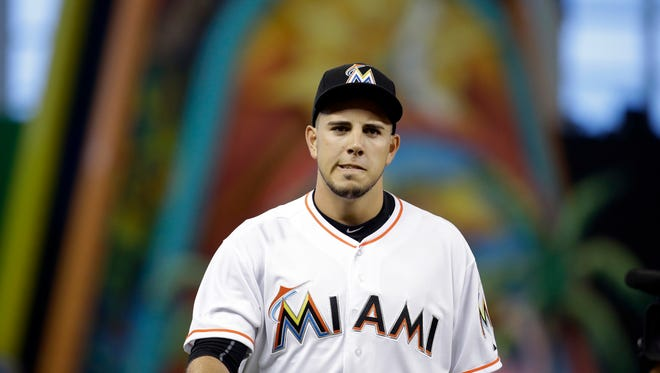 """FILE - In this July 9, 2015, file photo, Miami Marlins starting pitcher Jose Fernandez walks to the dugout before a baseball game against the Cincinnati Reds in Miami. Toxicology reports show Fernandez had cocaine and alcohol in his system when his boat crashed into a Miami Beach jetty. The cause of death was listed as """"boat crash"""" in the autopsy report released Saturday, Oct. 29, 2016, by the Miami-Dade County Medical Examiner's Office. ((AP Photo/Lynne Sladky, File)"""