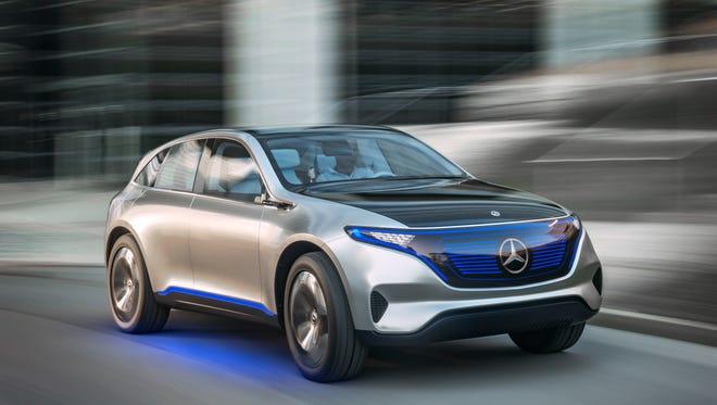 The exterior of the Mercedes-Benz Generation EQ electric car concept.