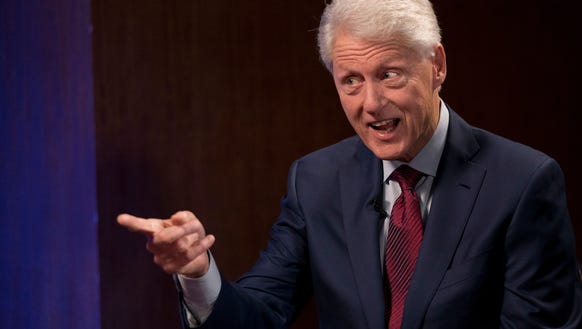"""Bill Clinton and James Patterson (not pictured), who have co-authored a mystery novel, """"The President is Missing,"""" talk to USA TODAY's Susan Page."""