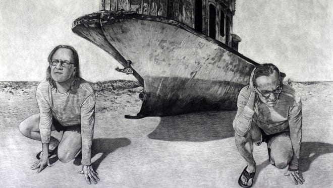 """Randy Simmons, """"Libra,"""" charcoal on paper, 2011."""