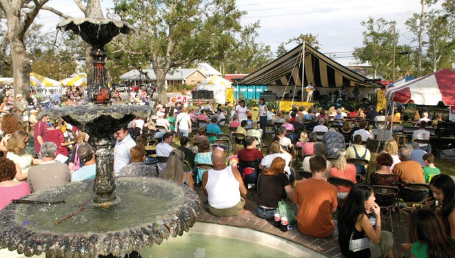 Music at the main stage in Fountain Park is a major attraction at the Great Gulfcoast Arts Festival.