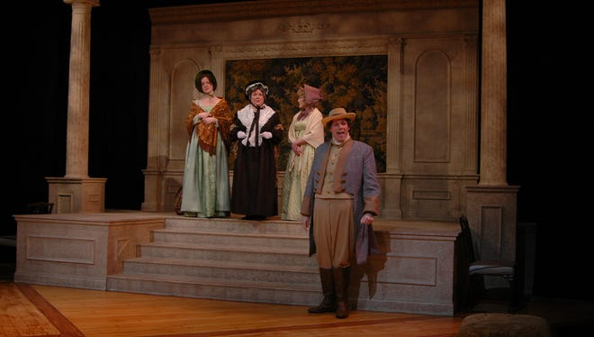 """Emily Draffen (from left), Mary Buchingnani, Hailey Townsend and Jason Spitzer perform in """"Sense and Sensibility"""" on the Next Stage at Theatre Memphis."""