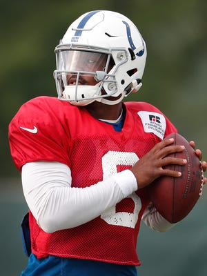 Indianapolis Colts quarterback Phillip Walker (8) during their training camp practice at the Colts complex on West 56th Street Friday morning August 11, 2017.