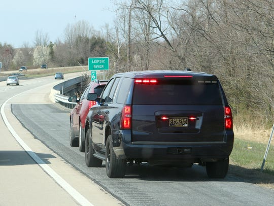 Delaware State Police Cpl. Chris Garcia pulls over a car in April 2018 on Del. 1 in Kent County after a DSP spotter saw the driver talking on his cellphone without a hands-free device.