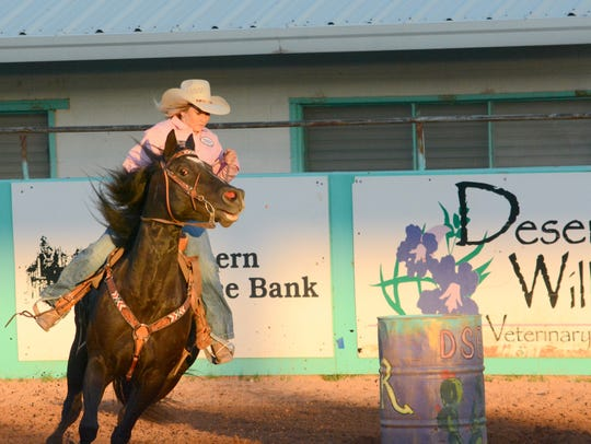 Madison Rinnie maneuvers around a barrel in Thursday's