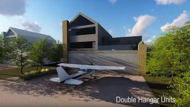 An artist rendering shows designs for Silver Falcon Estates, a proposed aviation development located adjacent to Sherman Municipal Airport. The Sherman City Council approved rules updates that would allow the development to work with TxDOT to form through-the-fence agreement for access to the airport.