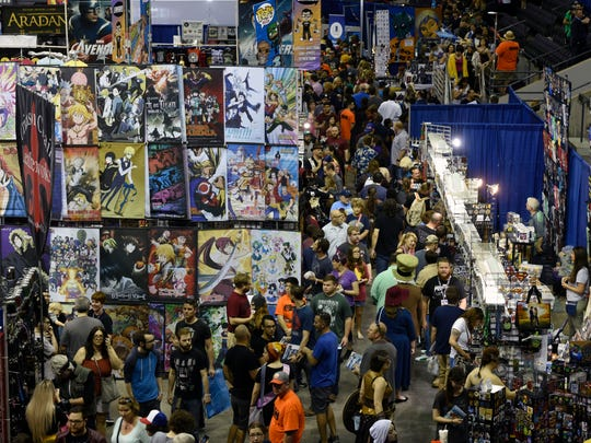 People make their way to and through the Pensacola Bay Center on day two of Pensacon on Saturday, Feb. 24, 2018.