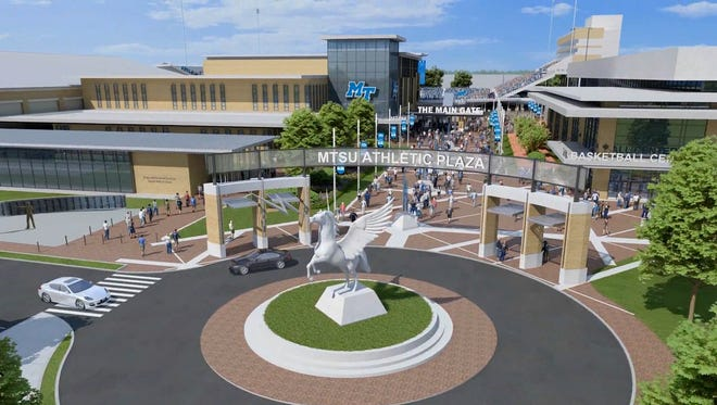 "An artist rendering of the proposed MTSU athletic plaza and ""True Blue"" athletic district."