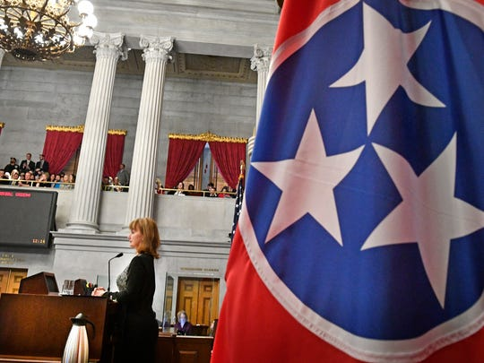 House Speaker Beth Harwell begins the first day of the Tennessee legislative session Jan. 9, 2018, in Nashville.