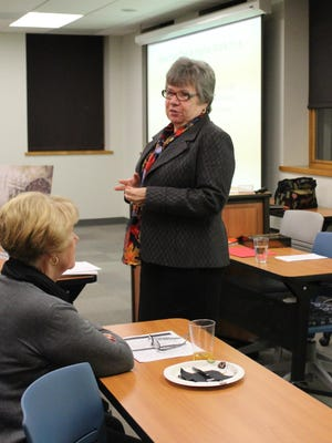 """Mary Ann Trail begins her presentation on the research she did for her novel """"Uniting Enemies"""" on Nov. 17 at Kramer Hall in Hammonton."""