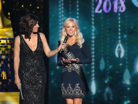 Miss Michigan 2017 Heather Kendrick participates in On Stage Question challenge with MC  Dena Blizzard during Miss America 2018 - First Night of Preliminary Competition at Boardwalk Hall Arena on Sept. 6, 2017, in Atlantic City, New Jersey.