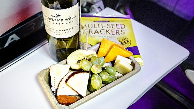 Virgin America offers wines from California -- where the airline has its headquarters -- that can be paired with salads and snacks.
