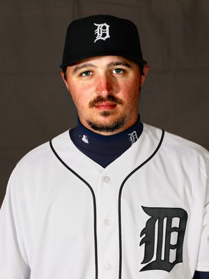 Detroit Tigers pitcher Blaine Hardy poses for a photo Feb. 27, 2016.