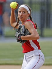 Pequea Valley's Mackenzie Dienner makes the throw to first base for the out at the District 3 Class AA softball championship at Millersville University  in Millersville, PA on June 2, 2016.