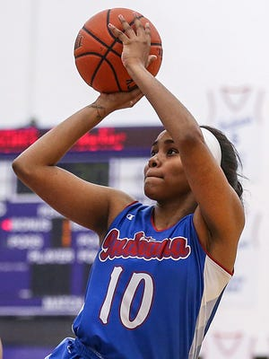 Lawrence North's Trinity Brady (10) shoots during the IndyStar Indiana Junior All-Stars versus Kentucky Junior All-Stars at Ben Davis High School in Indianapolis, Sunday, June 3, 2018. Indiana won, 95-90.