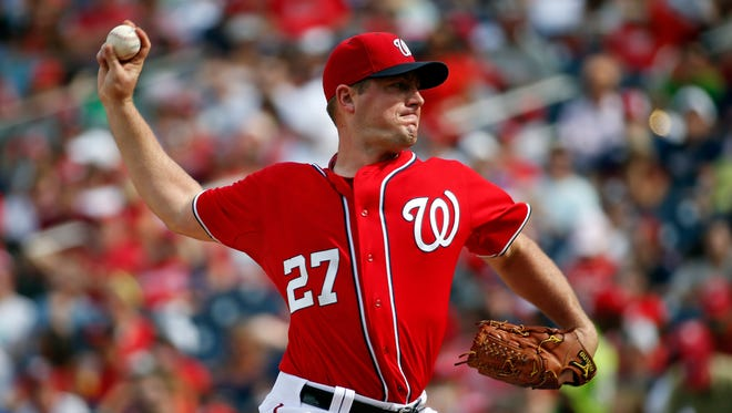 Washington Nationals starting pitcher Jordan Zimmermann, an Auburndale native, throws during the third inning of Sunday's regular-season finale against the Miami Marlins at Nationals Park in Washington.