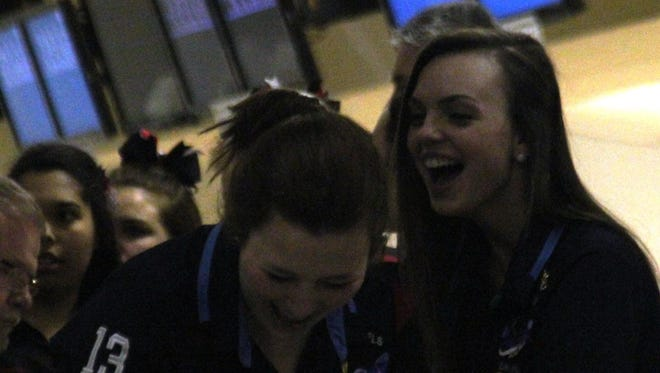 Seniors Samantha Schmitz, left, and Kayla Hightchew are part of another dominant Boone County bowling squad.
