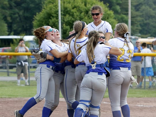 Maine-Endwell players celebrate their 1-0 win over Williamsville East on Saturday in the Class A state final at Moreau Recreational Park in South Glens Falls.